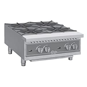 Countertop Burner Reviews : Globe Food GHP24G Countertop Gas Hot Plate with (4) 22,000 BTU Burners