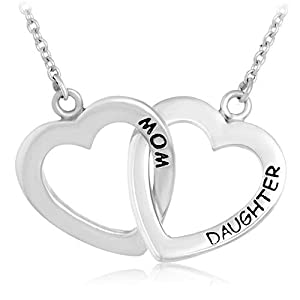 925 Sterling Silver Mother Daughter Two Love Hearts Pendant Necklace 18'' Mom Gift Jewelry
