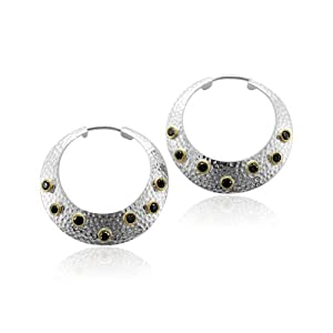 Click to buy 14K Gold and Silver Round Disc Drop Diamond Earrings from Amazon!
