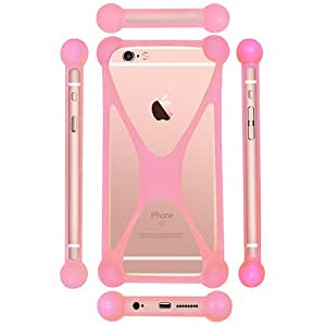 Casotec Universal Silicone Bumper Frame Soft Gel Phone Case Cover for Micromax Canvas Elanza 2 A121 - Baby Pink