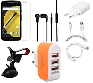 NIROSHA Tempered Glass Screen Guard Cover Case Charger Headphone USB Cable Mobile Holder for Motorola E2 - Combo