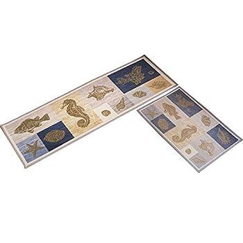 "Lyfreen 2 Pieces Non-Slip Area Rug Water Resistant Bathroom Rug 15.7""x23.6""+15.7""x47.2"" Machine Washable Kitchen Mat Kitchen Rug Extra Soft Runner Rug Living Room Rug"