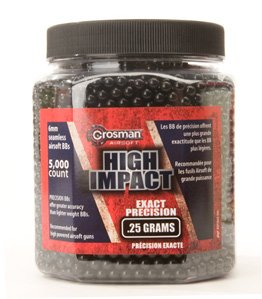 Crosman AirSoft BBs (5000 .25G 6mm, Black BBs)