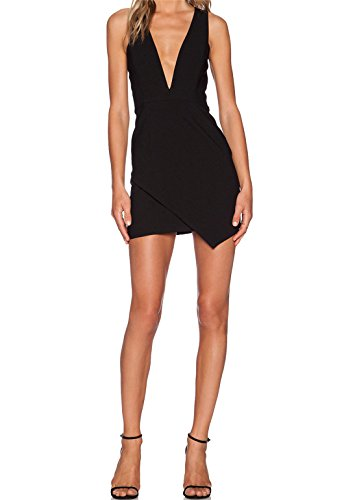 SunFashion Womens Black Deep V Neck Zipper Bodycon Dress