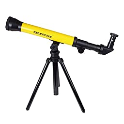 Highdas Kids Astronomy Spy and Learn Telescope Game Improved Lens Design Powerful And Easy To Use x60 x40 x20 Magnification Telescope Set Yellow