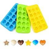 Ankway Silicone Chocolate Molds & Candy Molds Set of 3 Non Stick BPA Free Small Flexible Hearts, Stars & Shells Baking Wax Molds Silicone Ice Cube Trays Mini Ice Maker Molds(15 Cups)