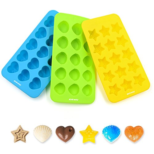 Ankway Silicone Cupcake Baking Pan / Non-Stick Dishwasher 15 Cups Mini Candy Mold (3 Pack)