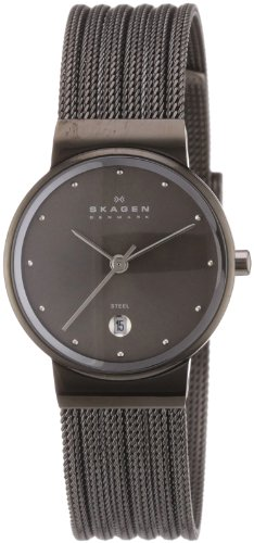 Skagen Ladies Watch 355SMM1 with Silver Stainless Steel Bracelet and Grey Dial