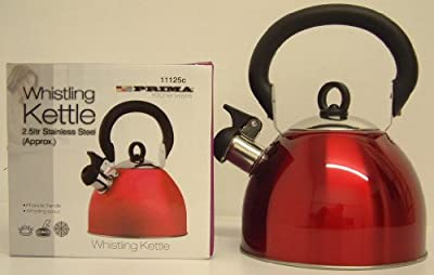 Whistling Kettle 2.5 Litre Stainless Steel Red from Prima