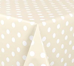 WACHSTUCH TISCHDECKE abwischbar Meterware, Größe wählbar, 200x140 cm, Glatt Punkte Weiß Creme Beige