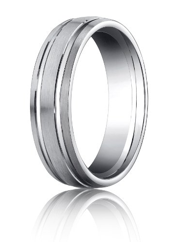 14K White Gold, 6mm Comfort-Fit Satin-Finished Parallel Grooves Band (sz 6.5)