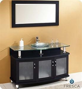 "Fresca Contento 48"" Modern Bathroom Vanity w/Tempered Glass Sink"