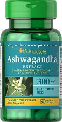 Puritan's Pride Ashwagandha Standardized Extract 300 mg-50 Capsules