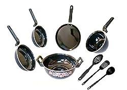 Dugri Enamle Cookware Set 5 Cookware Set with Plastic Kadchhi