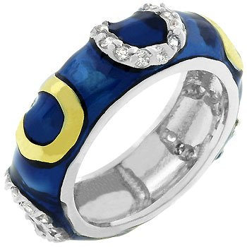 White Gold Rhodium Bonded, 14k Gold Bonded Horseshoes and Shiny Dark Blue Enamel Overlay with Handset Clear Cz Eternity Ring Women Jewelry (5)