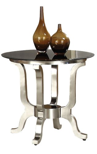 Image of Acme 80007 Rosa Glass Top End Table, Chrome Finish (B0082A1C70)