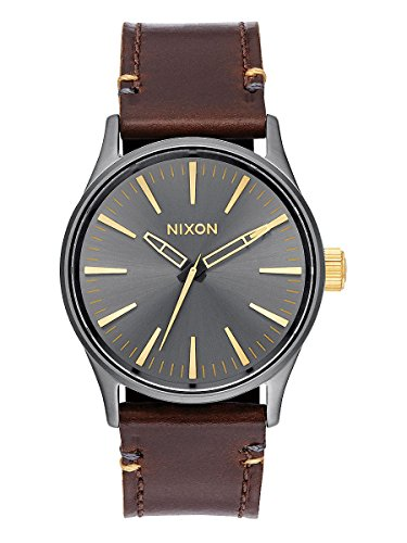 nixon-mens-a377595-sentry-38-leather-stainless-steel-watch-with-brown-leather-band