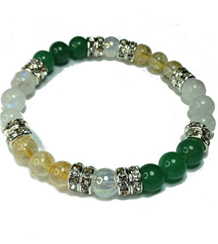 Lucky Duck: Natural Jade, Citrine, and Moonstone Beaded Stretch Bracelet