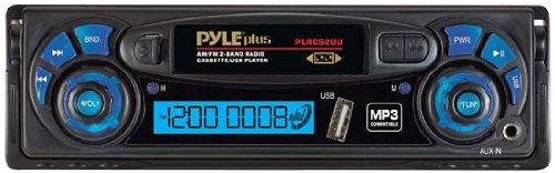 Pyle PLRCS20U AM/FM Radio Digital Display Auto Reverse Car Cassette Player MP3 Compatible Built-In USB/AUX-In