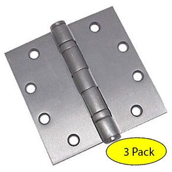 Dynasty Hardware Commercial Grade Ball Bearing Door Hinge 4-1/2 x 4-1/2 Full Mortise Brushed Chrome -- 3- PACK