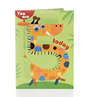 Age 5 Giraffe Kids Birthday Card