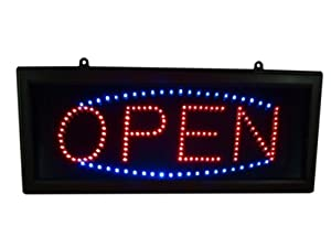 Bright LED Neon Style Light OPEN Business Sign (Red and Blue)