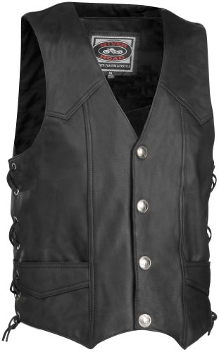 River Road Wyoming Nickel Leather Motorcycle Vest Large Black