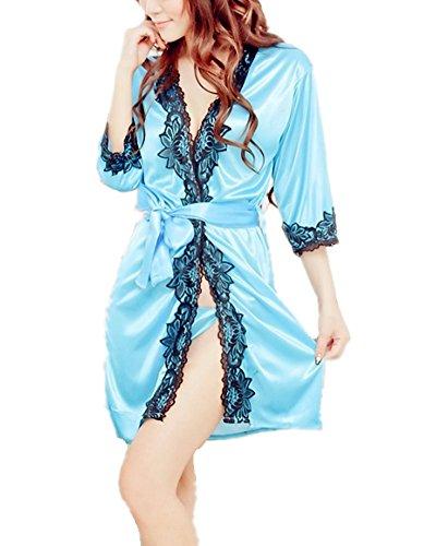 Samgu-Sexy Pyjama Lingerie Unterwäsche Dessous Baby DollsNachtkleid mit Spitze Satin-Schlafanzüge mit eleganten Gürtel für Frauen-One Size+T String