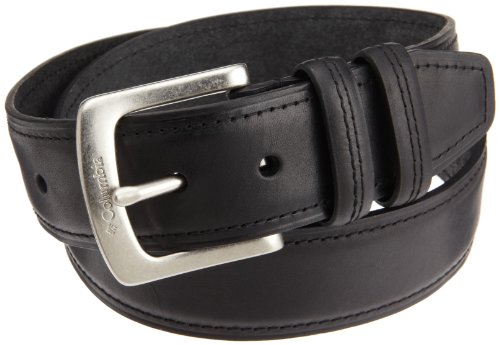 Columbia Mens 40mm Oil Tan Leather Belt With 2 Loops, Black, 40