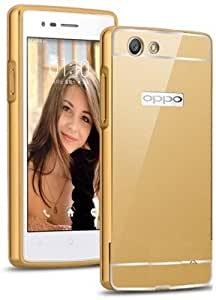 Tos Premium Aluminum Metal Bumper With Pc Mirror Back Cover Case For Oppo F1S - Gold Gold