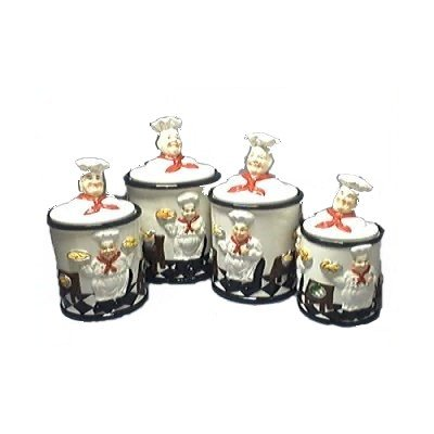 Italian fat chef 3 d canister set of 4 canisters for Italian kitchen set