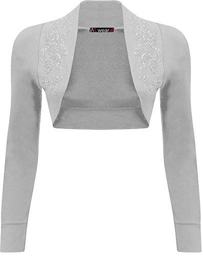 WearAll - alzata Bolero Top a maniche lunghe donna easybiz - 13 colori - dimensioni 36-42