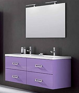 Mobile Arredo Bagno cm 140 in 25 colori anche bianco lavabo doppia vasca mineralmarmo Mobili