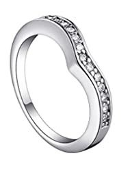 Kaizer Sparkling AAA Zircon Diamante 18k White Gold Plated Ring for Women