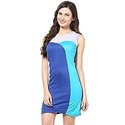 Citrine Women's Body Con Dress (ZCMAWWD0028_Blue_X-Large)