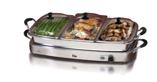 MaxiMatic EWM-9933 Elite Platinum 3-Tray 2-1/2-Quart Buffet Server, Stainless