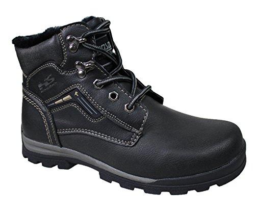 Stivali uomo Hanson nero casual scarpe stivaletti invernali neve con pelliccia interna (44)