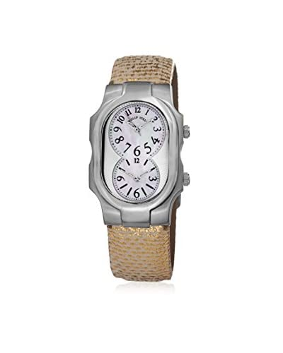 Philip Stein Women's 1NFMOPUG Gold/Mother-of-Pearl Leather Watch