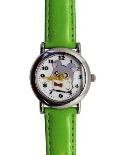 Green Leather Band Hamtaro Watch - Hamtaro Kids Watch
