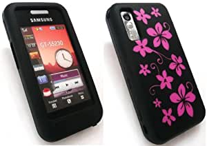 EMARTBUY SAMSUNG S5230 TOCCO LITE SILICON CASE/COVER/SKIN FLORAL BLACK + SCREEN PROTECTOR