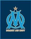 CTI 041140 Plaid Polaire Imprimé Om Logo Bleu Marine 110 x 140 cm