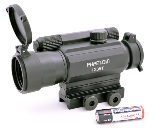 Phantom Tactical Green Red Dot Reflex Sight 1X35T With Picatinny Mount Aa Size Battery