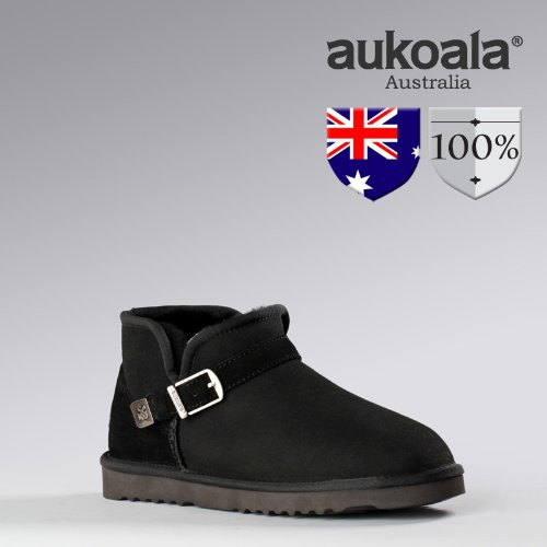 Men Boots Aukoala Australia Sheepskin Aaron Mini Winter Boots Black(9)