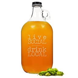 Cathy\'s Concepts Drink Local Craft Beer Growler, Clear