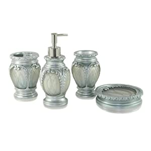 Dream Bath Silver Latern Bath Ensemble 4 Piece Bathroom Accessories Set Luxury Bath Accessory Bath Set Soap Dispenser/Toothbrush Holder/Tumbler/Soap Dish