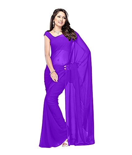 Lovely Look Latest collection of Plain Sarees in Georgette Fabric & in attractive Dark Purple Color