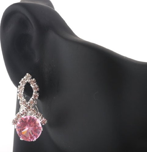 Ladies Silver Iced Out Ribbon Style with Pink Stone Clip On Stud Earrings