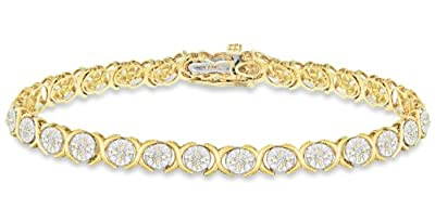 Carissima 9ct Yellow Gold 1Ct Diamond Hugs & Kisses Bracelet