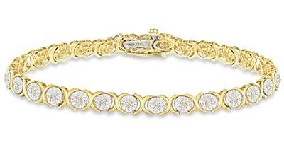 Carissima 9ct Yellow Gold 1Ct Diamond Hugs & Kisses Bracelet