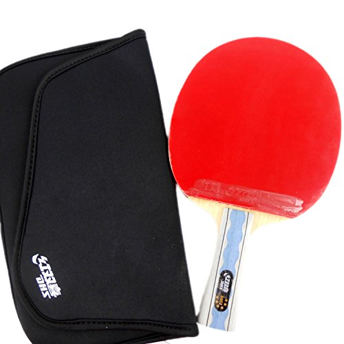 DHS A6002 (6002, 6 STAR) Table Tennis Racket (Shakehand) with Case for Ping Pong, Shakehand (Long Handle)-FL